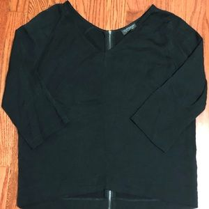 Topshop Black 3/4 Sleeve Back Zip Shirt Size US 2